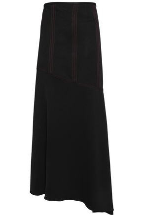 ELLERY Asymmetric satin-crepe maxi skirt