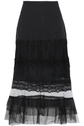 JONATHAN SIMKHAI Lace and tulle-paneled crepe de chine midi skirt