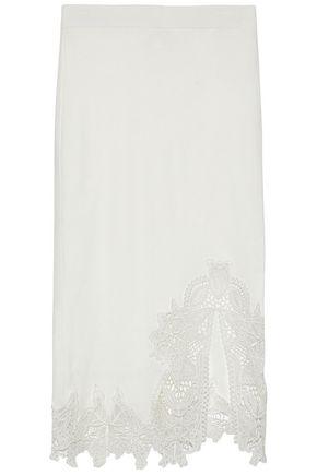 JONATHAN SIMKHAI Guipure lace-trimmed stretch-knit skirt