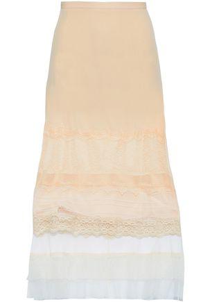 JONATHAN SIMKHAI Lace and tulle-paneled crepe de chine midi skirt