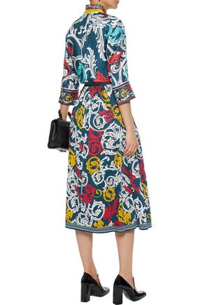 MARY KATRANTZOU Bowles printed cotton-blend poplin midi skirt