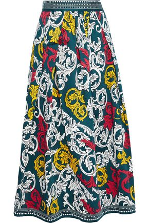 MARY KATRANTZOU Bowles printed stretch-cotton poplin midi skirt