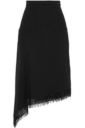 ROLAND MOURET Tarring asymmetric fringe-trimmed wool-crepe midi skirt