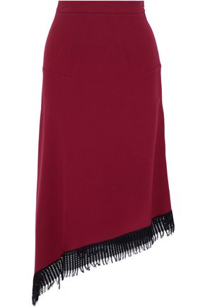 ROLAND MOURET Tarring lattice-trimmed wool-crepe midi skirt