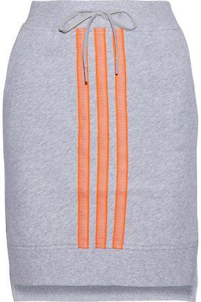 Y-3 + adidas mesh-trimmed mélange cotton-jersey mini skirt