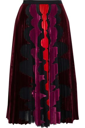 MARY KATRANTZOU Suzette pleated flocked tulle midi skirt