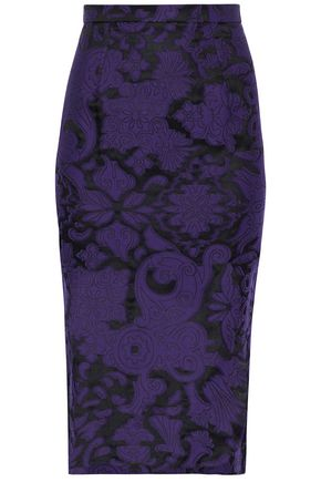 ROLAND MOURET Norley crepe-paneled fil coupé cotton and silk-blend skirt