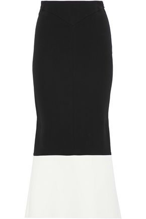 ROLAND MOURET Two-tone flared crepe midi skirt