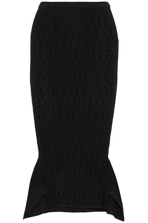 ROLAND MOURET Fluted crochet-knit skirt
