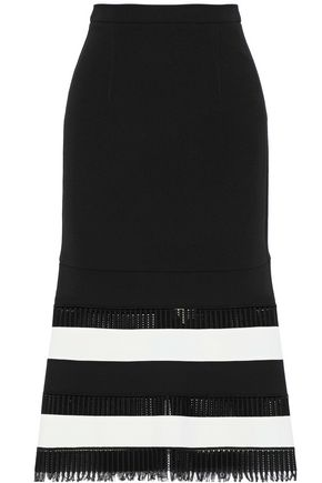 ROLAND MOURET Two-tone fringe-trimmed lattice-paneled wool-crepe midi skirt