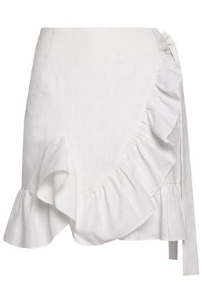 GOEN.J Wrap-effect ruffle-trimmed ramie wrap mini skirt