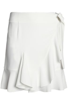 GOEN.J Ruffle-trimmed crepe wrap mini skirt