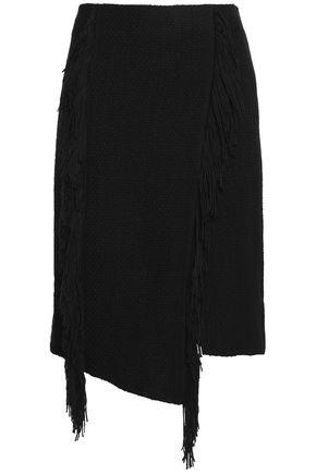 GOEN.J Asymmetric fringe-trimmed tweed skirt