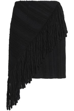GOEN.J Asymmetric fringed tweed mini skirt