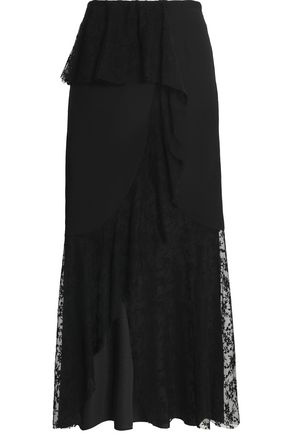 GOEN.J Crepe de chine-paneled embroidered tulle maxi skirt