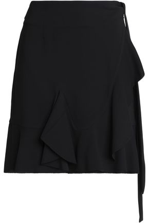 GOEN.J Wrap-effect ruffle-trimmed crepe mini skirt