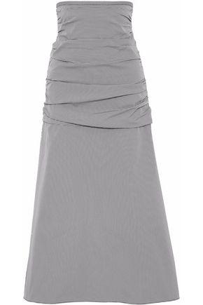 ELLERY Flared ruched houndstooth poplin maxi skirt