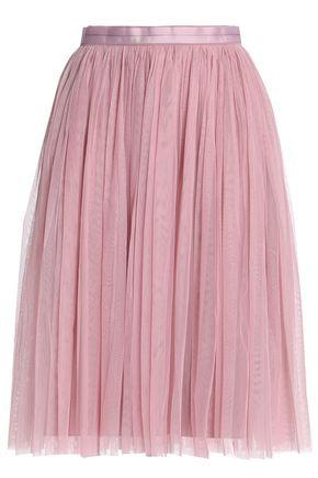 NEEDLE & THREAD Satin-trimmed pleated tulle skirt