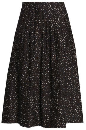VANESSA SEWARD Pleated polka-dot cotton and silk-blend skirt