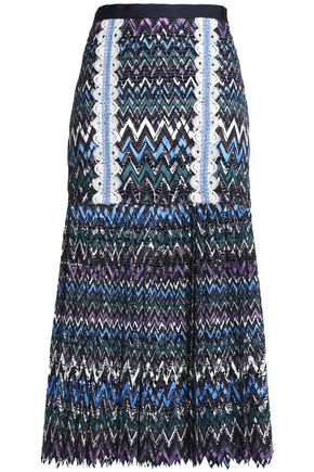 SALONI Diana crochet-trimmed printed guipure lace midi skirt