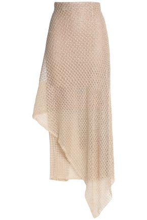 ROLAND MOURET Asymmetric draped crochet midi skirt