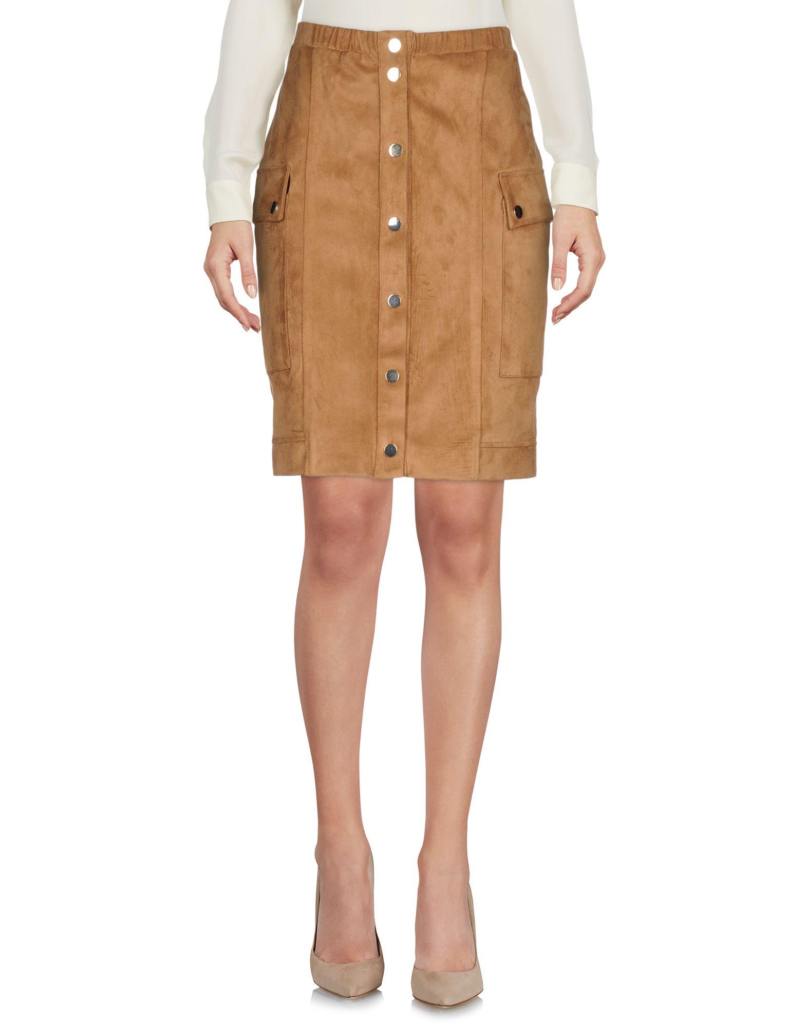 MANGANO レディース ひざ丈スカート キャメル 40 ポリエステル 100%