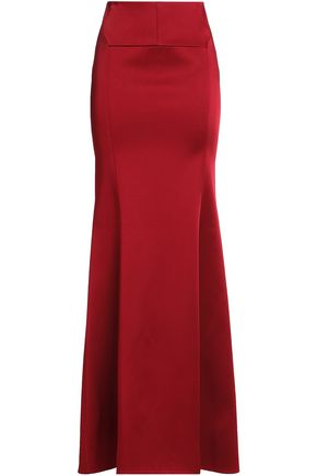 ROLAND MOURET Fluted duchesse-satin maxi skirt