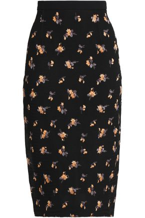 ROLAND MOURET Norley crepe-paneled embroidered matelassé pencil skirt