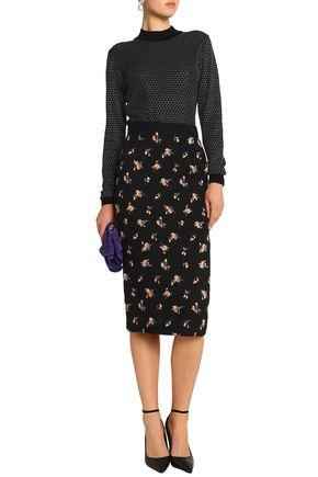 ROLAND MOURET Norley crepe-paneled embroidered matelassé pencil skirt