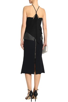 ROLAND MOURET Margate fluted metallic embroidered crepe skirt