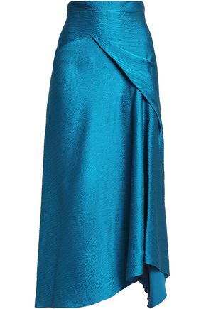 ROLAND MOURET Lathbury draped hammered silk-satin midi skirt