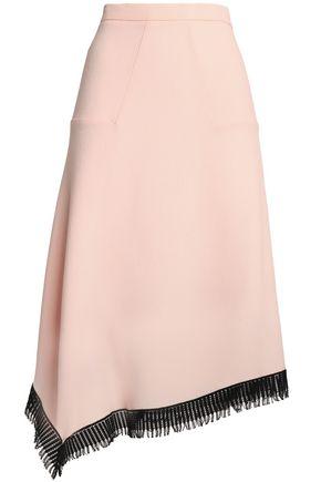 ROLAND MOURET Asymmetric macramé-trimmed wool-crepe skirt