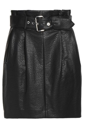 MICHAEL MICHAEL KORS Belted faux textured-leather mini skirt