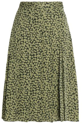 MICHAEL MICHAEL KORS Pleated printed silk crepe de chine skirt