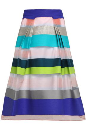 MILLY Pleated paneled organza and jacquard midi skirt