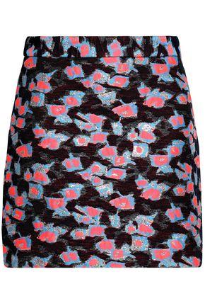 MILLY Metallic fil coupé crepe mini skirt