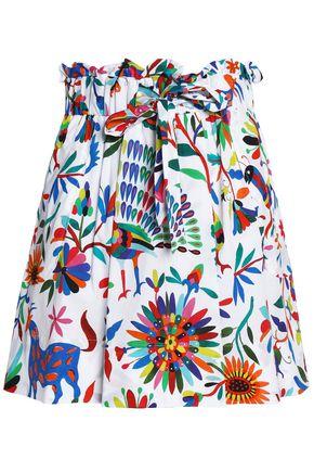 MILLY Printed cotton-blend poplin mini skirt