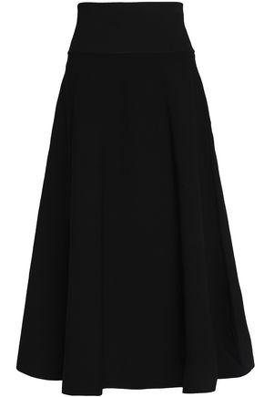 MILLY Striped stretch-knit midi skirt