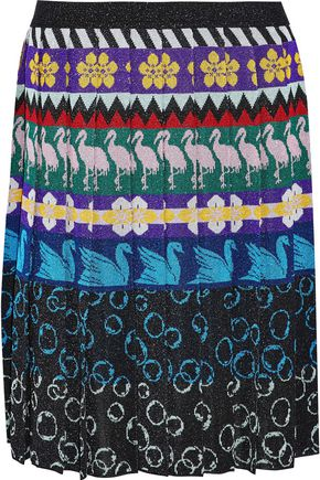 MARY KATRANTZOU Mandy pleated metallic intarsia-knit skirt