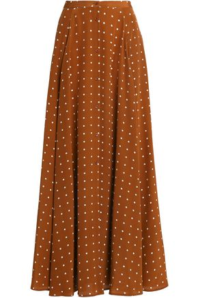 DIANE VON FURSTENBERG Pleated polka-dot silk maxi skirt