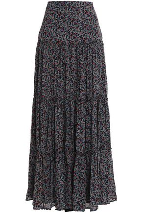 TALITHA Printed pleated silk maxi skirt