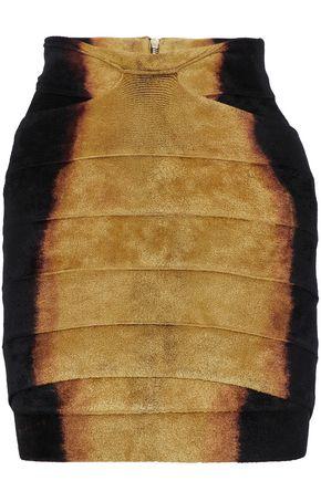BALMAIN Layered printed chenille mini skirt