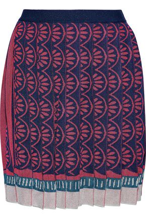 MARY KATRANTZOU Pleated metallic intarsia-knit skirt