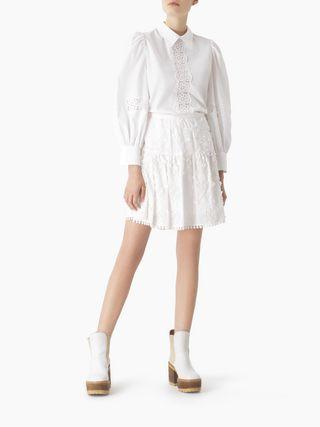 Mini jupe en popeline brodée