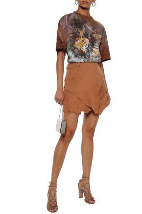 BALMAIN Asymmetric layered suede mini skirt