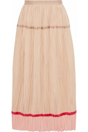 AGNONA Silk-paneled plissé cotton-poplin midi skirt