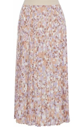AGNONA Pleated printed silk-blend crepe de chine midi skirt