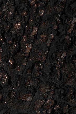 BALMAIN Metallic appliquéd suede mini skirt