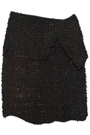 BALMAIN Metallic appliquéd suede mini skirt