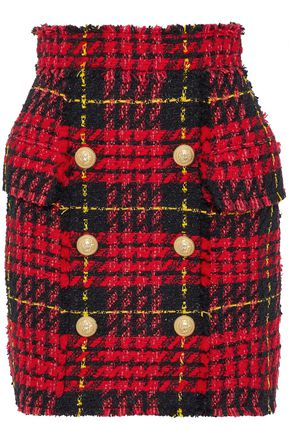 BALMAIN Metallic checked bouclé-tweed mini skirt